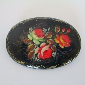 Rose Cameo Pin Brooch Hand Painted Wood Oval